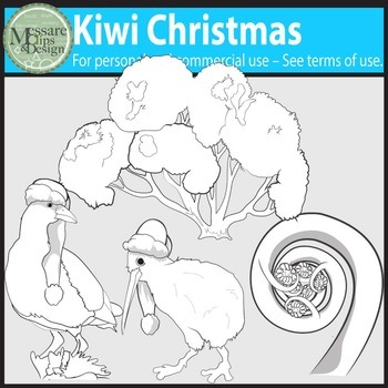 Kiwi Christmas Clip Art {Messare Clips and Design}