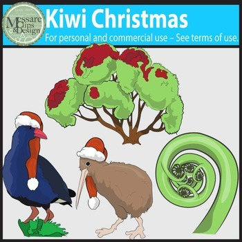 Kiwi Christmas Clip Art {Messare Clips and Design}