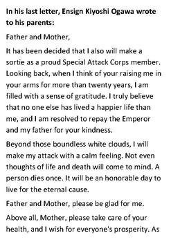 Kiyoshi Ogawa Kamikaze Letter Handout