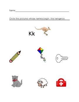 Kk Kangaroo Homework Sheet #1