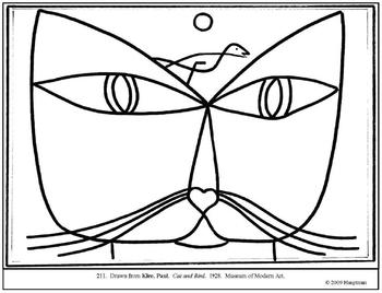 Klee, Paul.  Cat and Bird.  Coloring page and lesson plan ideas