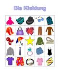 Kleidung (Clothing in German) Bingo
