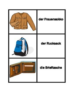 Kleidung (Clothing in German) Concentration games