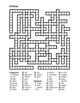 Kleidung (Clothing in German) Crossword 2