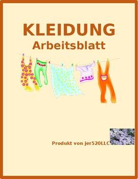 kleidung clothing in german farbe worksheet 1 by jer tpt. Black Bedroom Furniture Sets. Home Design Ideas