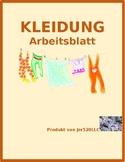 Kleidung (Clothing in German) Farbe Color Worksheet 1