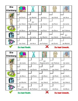 Kleidung (Clothing in German) Grid vocabulary activity