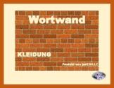 Kleidung (Clothing in German) word wall