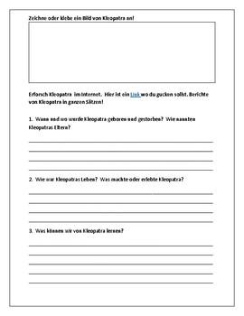 Kleopatra:  Berühme Persönlichkeiten - Famous Person Worksheet