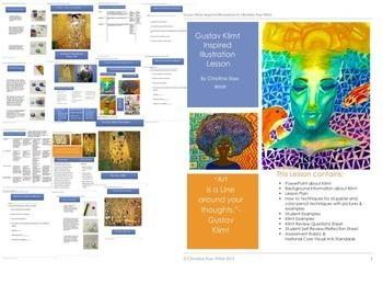 Klimt Pattern Illustration Middle & H.S Art Lesson & Powerpoint Bundle