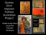 Klimt Pattern Illustration Middle & H.S Art Lesson & Power