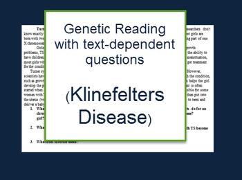 Genetics: Klinefleters disease reading and questions