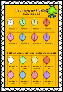 Klokkeoppgaver på norsk (bokmål) og engelsk