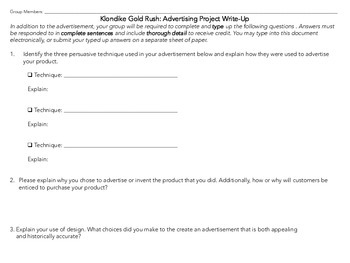 Klondike Gold Rush Advertisement Persuasion Project
