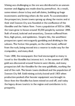 Klondike Gold Rush Handout with activities