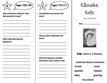 Klondike Kate Trifold - Storytown 5th Grade Unit 6 Week 2