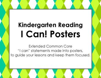 Knidergarten I Can Statements for Extended Common Core
