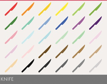 Knife Digital Clipart, Knife Graphics, Knife PNG, Rainbow