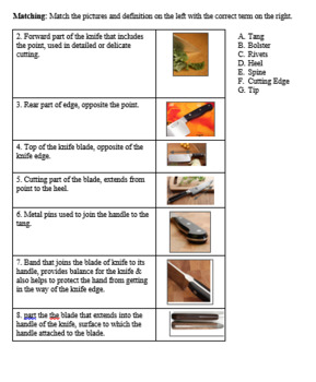 Knife Skills Assessment and Study Guide