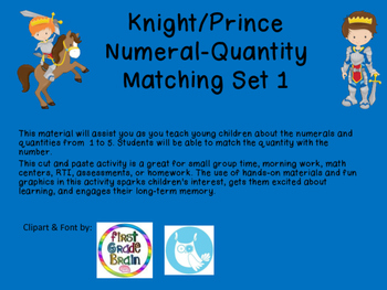 Knight/Prince Numeral-Quantity Matching Set 1