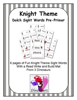 Knight Theme Dolch Preprimer Sight Words