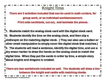 Knight Time: Telling Time To The Hour And Half Hour Math Centers