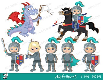 Knight and Dragon.  Cute Clipart. Instant Download.