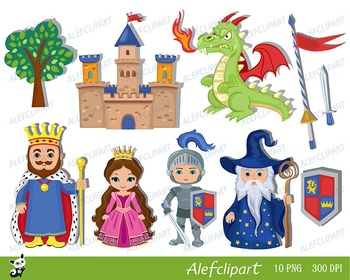 Knight and Princess castle cute clipart. Instant Download.
