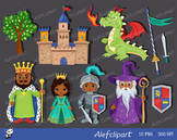 Knight and Princess castle cute clipart. Multicultural.