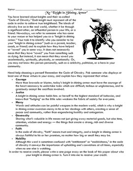 chivalry teaching resources teachers pay teachers  knighthood and code of chivalry essay homework assignment