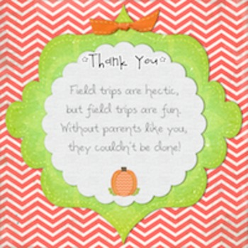 Knighton Creations Pumpkin & Rabbit Themed Field Trip Chaperone Thank You Card