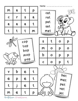 Knighton Creations - Spring Themed CVC Primary Word Searches