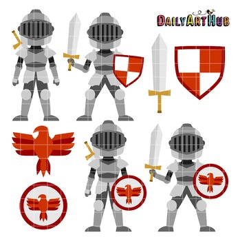 Knights Clip Art - Great for Art Class Projects!