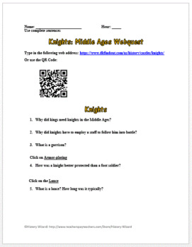 Knights: Middle Ages Webquest