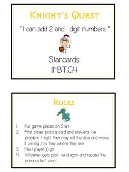 Knight's Quest Math Folder Game - Common Core - Adding 2 and 1 Digit Numbers