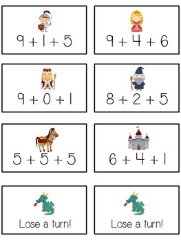 Knight's Quest Math Folder Game - Common Core - Adding Three 3 Numbers