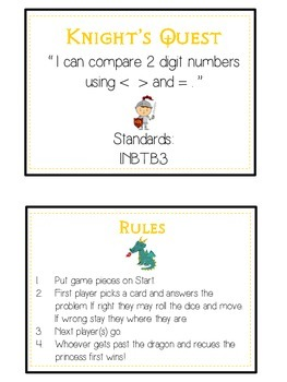 Knight's Quest Math Folder Game - Common Core - Comparing 2 Digit Numbers