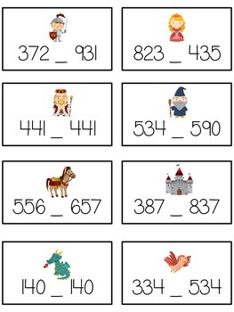 Knight's Quest Math Folder Game - Common Core - Comparing 3 Digit Numbers