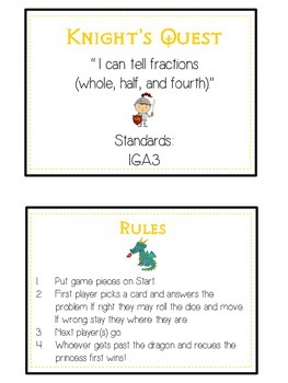 Knight's Quest Math Folder Game - Common Core - Fractions