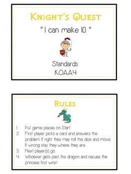Knight's Quest Math Folder Game - Common Core - Making Ten