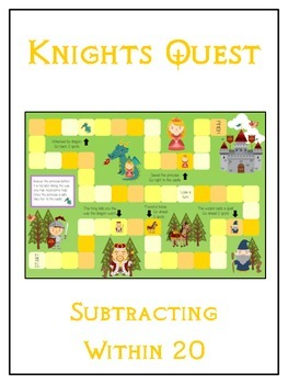 Knight's Quest Math Folder Game - Common Core - Subtracting 10 to 20