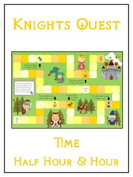 Knight's Quest Math Folder Game - Common Core - Telling Time Half Hour Hour
