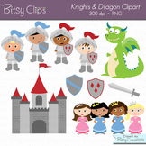 Knights and Dragon Clipart Set with Black & White Outlines