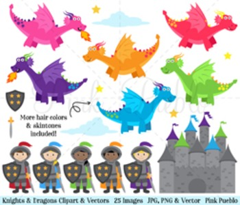 Knights and Dragons Clipart, Knight Clipart, Dragon Clipart, Fairytale Clipart