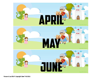 Knights and Princess' Wall Calender Months