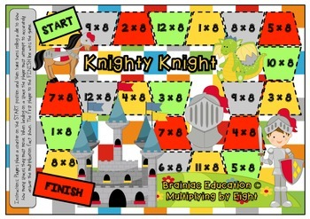 Knighty Knight Multiplication Board Game x8 Facts