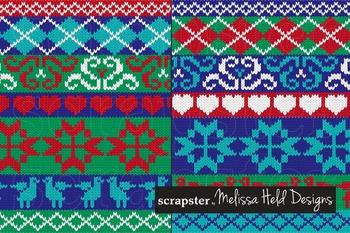Clipart: Knit Christmas Border Patterns Clip Art