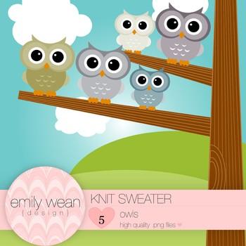 Knit Sweater - Owl Clip Art