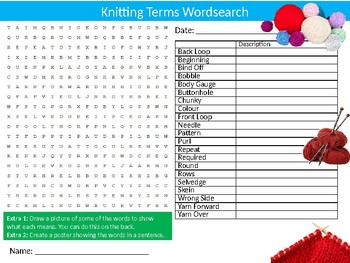 Knitting Terms Wordsearch Puzzle Sheet Keywords Textiles Design