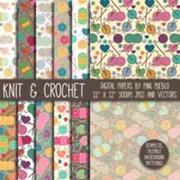 Knitting and Crochet Digital Paper, Knitting and Crochet Scrapbook Paper